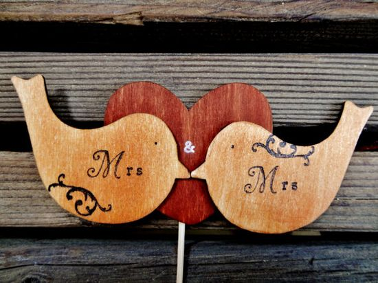 Two love birds cake topper - cake topper - love birds - wood burned - lesbian cake topper - gay cake topper - same sex wedding