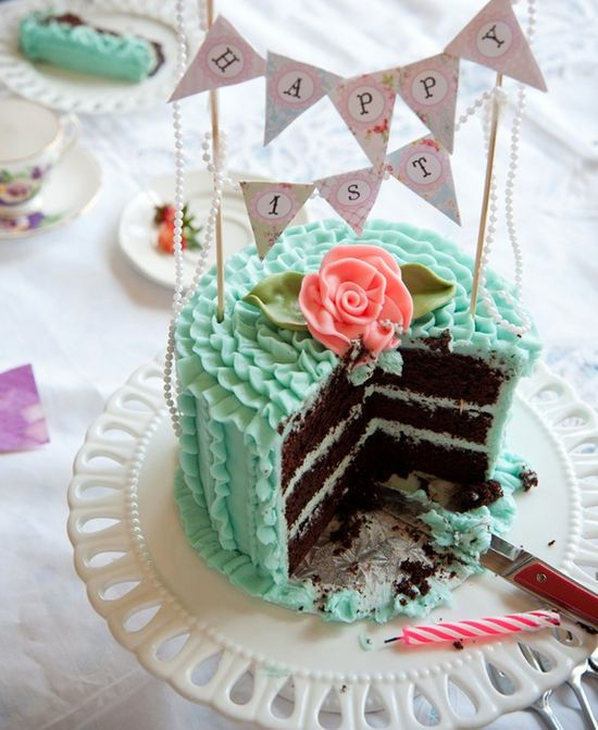 Shabby Chic Birthday...love the cake color