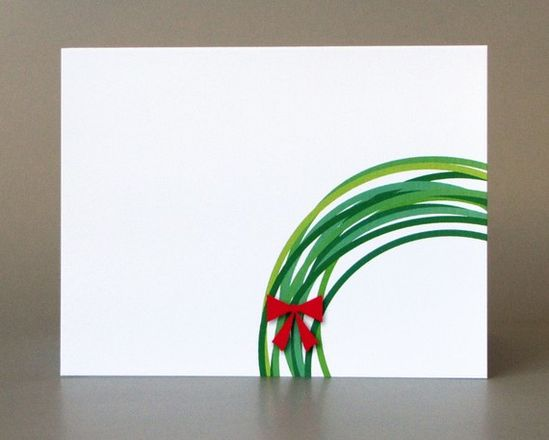 Christmas cards - replicate by dipping the rim of a mug in different shades of green paint and add red ribbon. So cute!