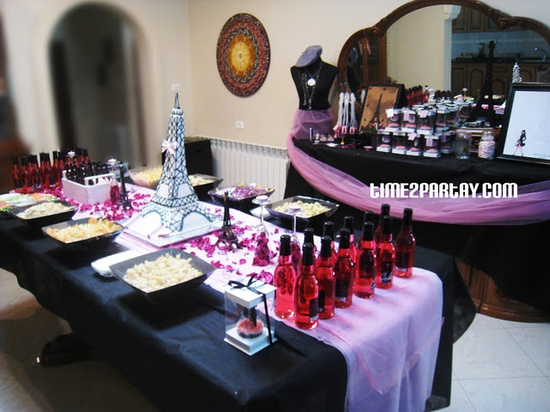 Paris Themed Birthday Party Dessert Table #Pink #black #white #birthday #parisian #cake #decoration #sweet