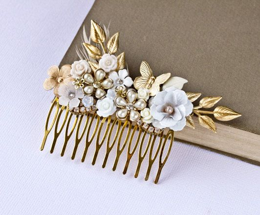 Bridal Hair Accessories Elegant Gold Bridal Hair comb by lonkoosh GET LISTED TODAY! www.HairnewsNetwo...  Hair News Network. All Hair. All The time.