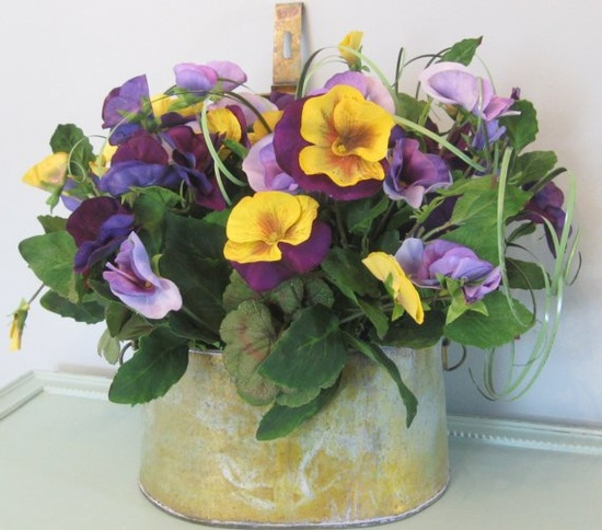 Pansy Silk Flower Arrangement in Antiqued by beachgrasscottage