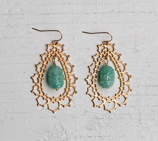GOLD Lace Mint Green Filigree Tear Drop by redtruckdesigns on Etsy