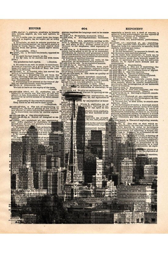 Space Needle Dictionary Print