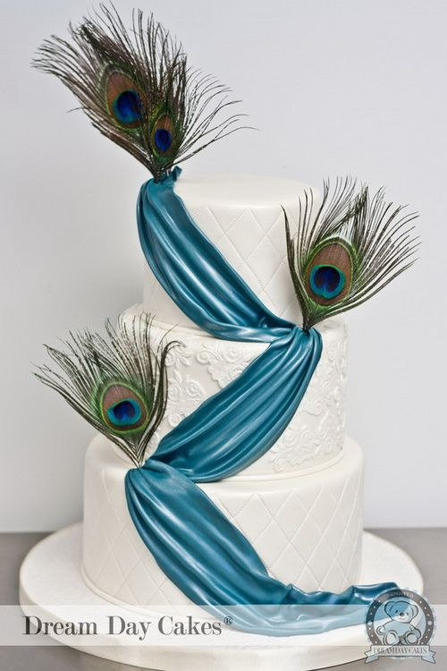 simple peacock feather wedding cake