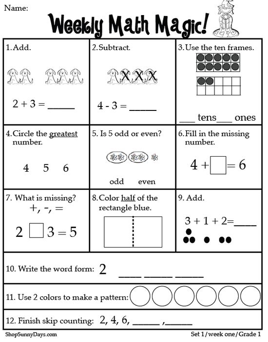 Weekly Math Magic.  Common Core Standards for first grade weekly skills.