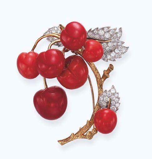 Coral and diamonds brooch, Tiffany