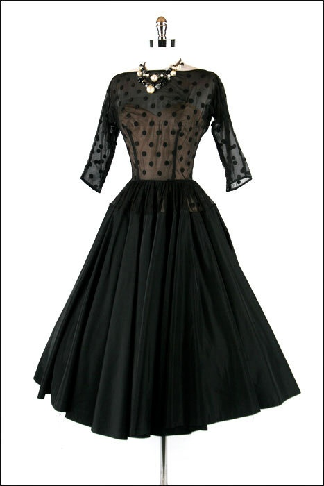 Vintage 1950s 50s Dress --- Black Illusion Polka Dot Full Skirt Party Cocktail Wedding Taffeta
