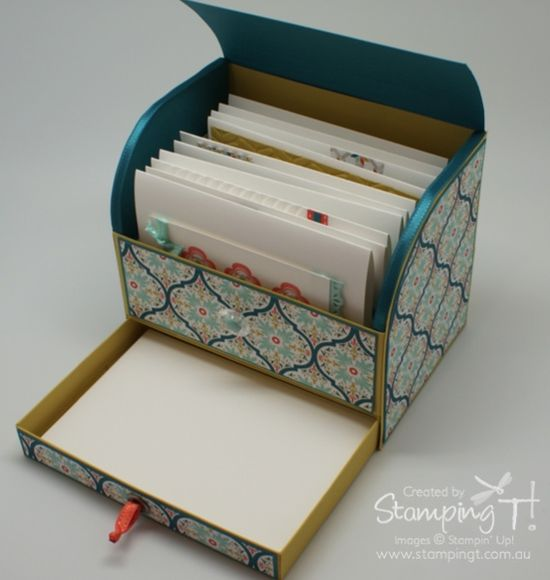 Stampin' Up! Stamping T! - Roller Top Card Box Open Drawer