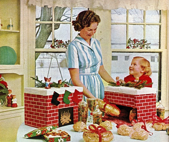 Darling 1960s Christmas fireplace