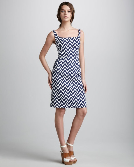 Milly Sydie Zigzag Dress in Blue (navy)  #Dress