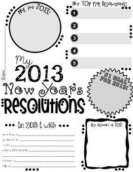 My 2013 New Year's Resolution Activity Poster Freebie---great for back to school!