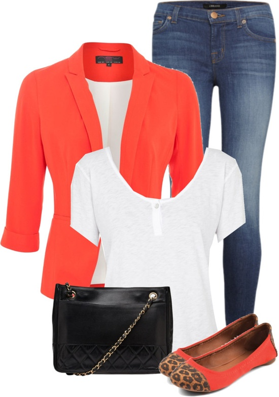 """Orange Blazer, White T-Shirt, and Skinny Jeans"" by fashion-766 on Polyvore"