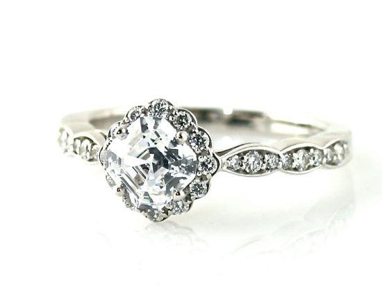 14K Asscher Diamond Engagement Ring Diamond Halo Ring by RareEarth, $5276.00