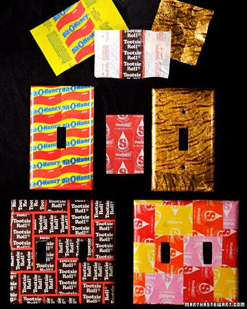Decoupage with Halloween Candy wrappers ~  I like this idea for picture frames to put pictures of the kids in their costumes in.