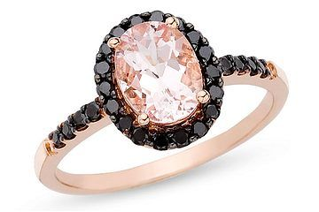 1 1/2 Carat Morganite and Black Diamond 14K Pink Gold Ring