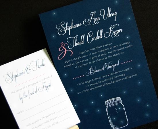 Star and mason jar invite. Art by Ellie Wedding Invitations.