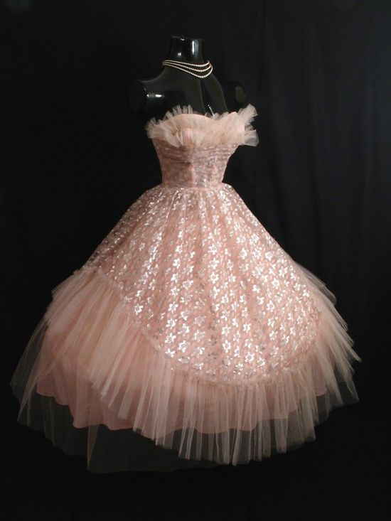 1950s blush colored prom dress