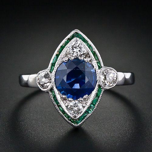 Art Deco Sapphire, Emerald, and Diamond Ring