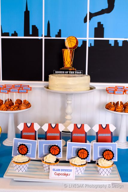 Dessert table at a Basketball Party #basketball #party