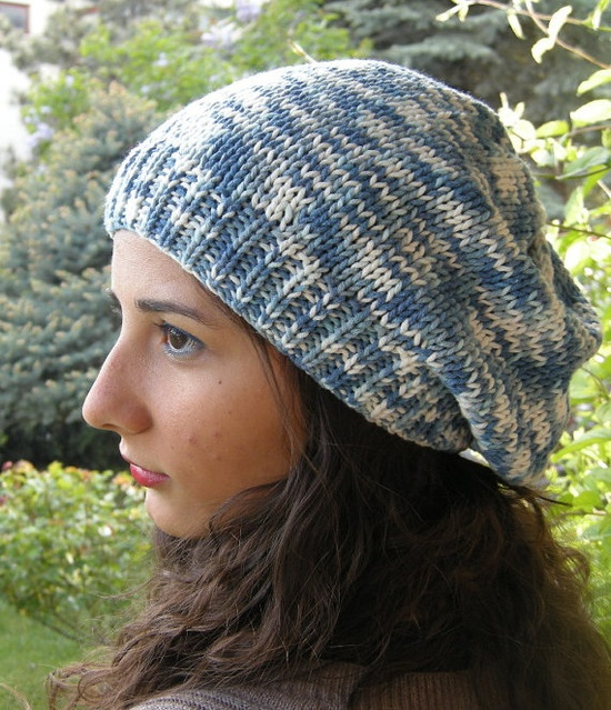 #accessories #hat #women #blue #white #slouchy #beret #handmade #charm #cozy #hair #knit     $35