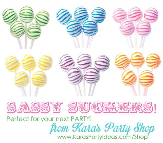 THE cutest LOLLIPOPS! Perfect for any birthday party! Sassy Suckers from Kara's Party Shop- TONS MORE CUTE CANDY, too! KarasPartyIdeas.com/Shop #party #ideas #supplies #lollipops #candy