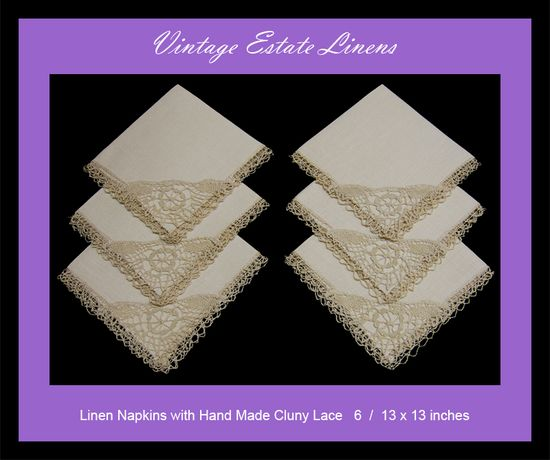 linen napkins with hand made Cluny lace