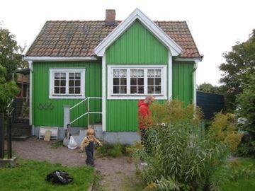 green little house