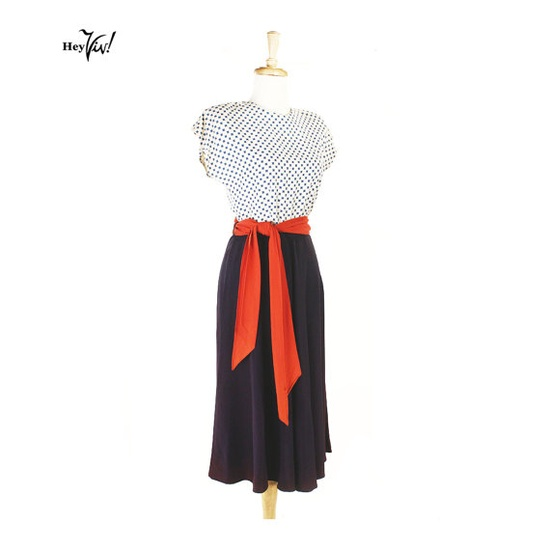 1940s Vintage Dress  Red White and Blue