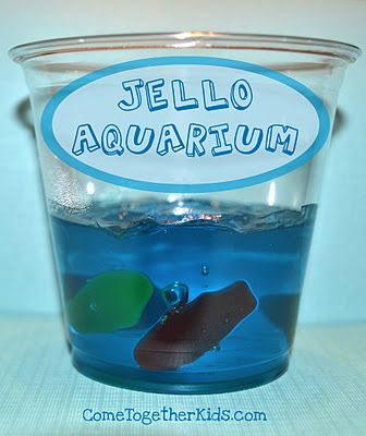 Jello Aquariums - Could use small gladware containers so they can be stored for later eating.  Use fruit snacks, not candy for healthier option.