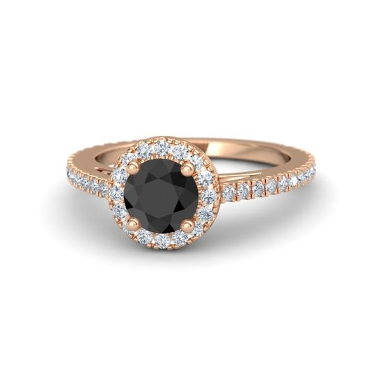 Round Black Diamond 14K Rose Gold Ring with Diamond
