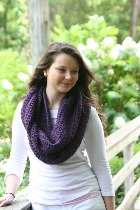 Perfect color for fall! Will add this one to the mustard infinity scarf I made last year. Infinity Cowl Scarf Crochet Scarf / The Auray /  by crochetgallery.