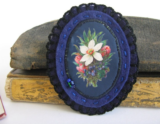 flower broach   blue felt brooch  botanical by redstitchlab, €20.00