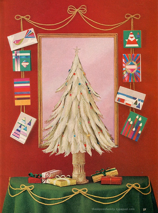 Paper feather christmas tree