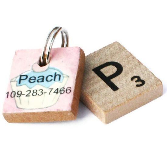 Cupcake Scrabble Dog ID Tag by ScarlettandCo on Etsy, $8.00