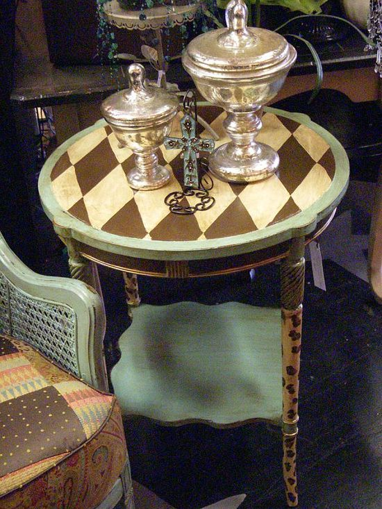 Hand Painted Furniture ~ Chocolate and Turquoise side table