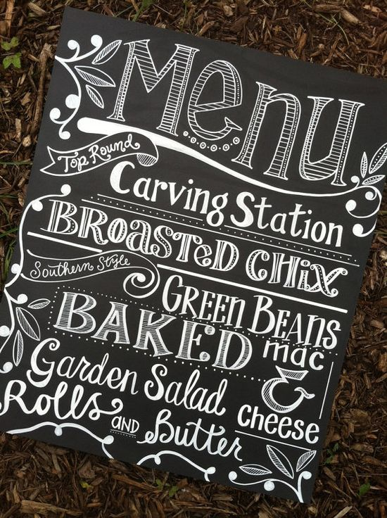 "DIY Idea - 20x24"" menu sign made using mat board which has been painted with chalkboard paint and the word art finished with a chalk pen - $75"