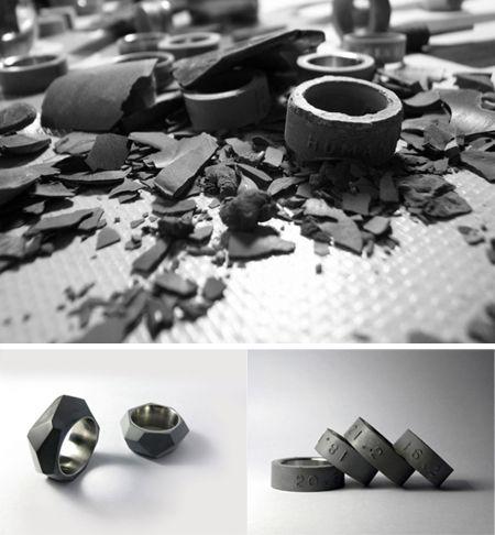 Área Visual: Concrete rings: materiales de arquitectura al servicio de la moda. 22designstudio.