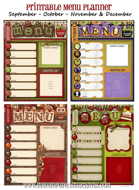 CUTE Printable Menu Planners for each month!