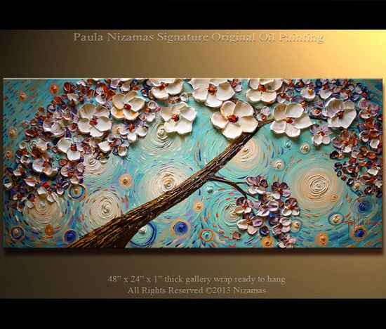 Original Painting Morning Blossom Tree painting art by Artcoast, $385.00