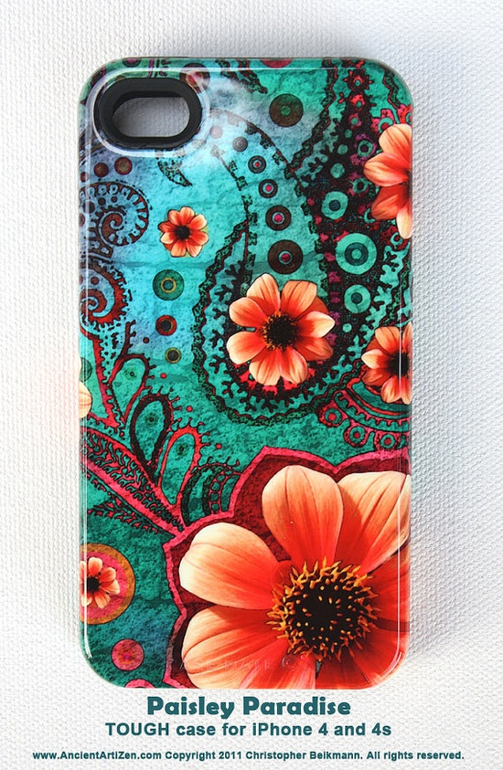 iPhone 4 case - iPhone 4s case - Paisley Paradise - Uncommon teal green and orange artwork - TOUGH hard plastic iPhone case with silicone from Etsy seller ancientartizen
