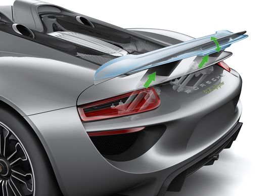 #Porsche #918Spyder: The three-stage extendable rear wing. Learn more: link.porsche.com/918 Combined fuel consumption in accordance with EU 5: 3.3-3.0 l/100 km, CO2 emissions 79-70 g/km. Electricity consumption 12.5-13.0 kWh/100 km.