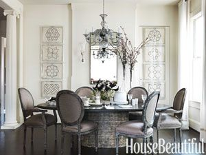 Decadent dining room. Design: Barry Dixon. Photo: Jonny Valiant. housebeautiful.com. #dining_room #dining_room_table #glass_chandelier #gray