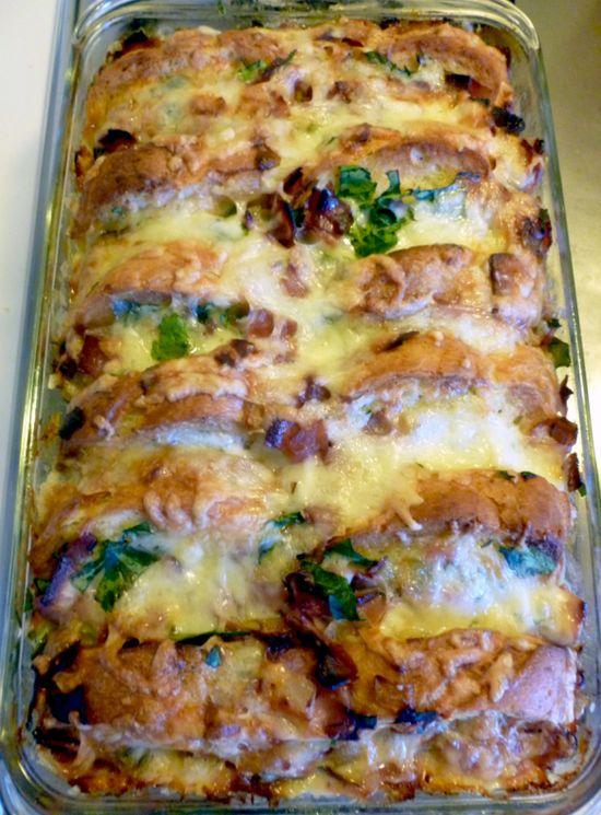 Ham, Fontina and Spinach BreadPudding