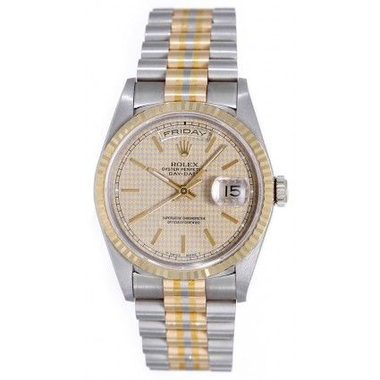 Rolex President Day-Date Tridor Rose, White, Yellow Gold Men's Watch 18239