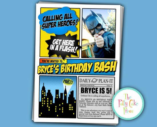 Batman+Photo+Invitation+Birthday+Party+Custom+by+ThePattyCakePress,+$16.00