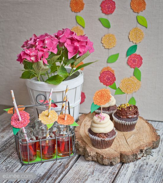 DIY Themed Flower Decor - Straws, Cupcake Topper, Flower Gardland