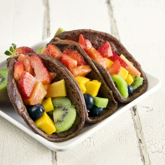 FRUIT TACOS! Here's the recipe for homemade CHOCOLATE tortillas that you fill with fresh fruit!