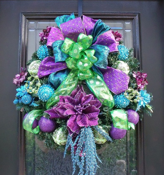 Thinking out of the standard Christmas colors for this gorgeous door wreath.