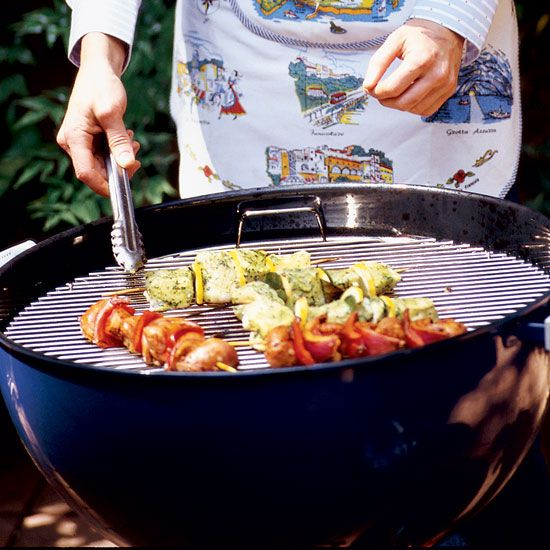 Sweet Sausage, Onion and Pepper Skewers // More Great Grilling: www.foodandwine.c... #foodandwine